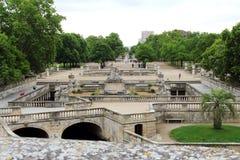 Jardins de从大阳台, Nîmes,法国的la Fontaine 免版税库存照片