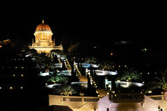 Jardins de Bahai à Haïfa la nuit Photographie stock