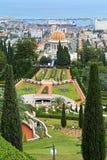 Jardins de Bahai avec le tombeau du Bab à Haïfa, Israël Image libre de droits
