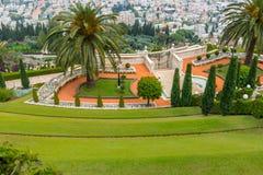 Jardins de Bahai - la terrasse s'abaissent Image stock