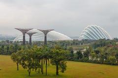 Jardins de baie de Singapour juste avant la pluie Images stock