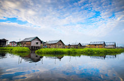 Jardins de flottement sur le lac Inle Photo stock