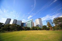 Jardins de Hamarikyu em Tokyo, Japão fotografia de stock