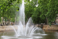 Jardins de la Fontaine, Nîmes,法国 免版税库存图片
