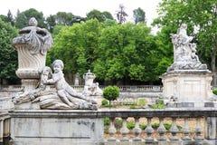 Jardins de la Fontaine, marble sculptures, Nîmes, France Stock Images