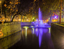 Jardins de la Fontaine in Nimes at night - France, Languedoc-Roussillon. Jardins de la Fontaine in Nimes at night - France - Languedoc-Roussillon stock photography