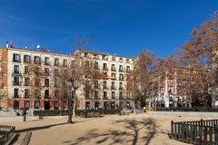 Jardins de la villa de plaza De Paris dans la ville de Madrid, Espagne images stock