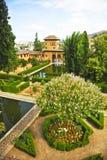 Jardins de Partal Palácio de Alhambra em Granada, a Andaluzia, Espanha fotos de stock royalty free
