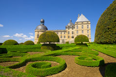 Jardins e Château de Hautefort, Périgord. imagem de stock