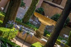 Jardins et fontaines d'Alhambra avec des fleurs au soleil photo stock