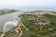 Jardins par la baie avec des supertrees et des serres chaudes à Singapour Image libre de droits