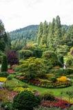 Jardins submergés dans des jardins de Butchart, Victoria, Canada Images stock