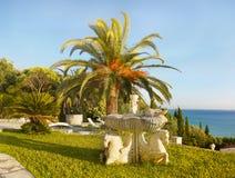 Jardín de lujo del chalet de las vacaciones de las palmas Fotografía de archivo libre de regalías