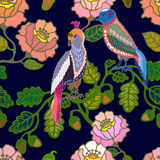 Jardín japonés Pájaros y flores Imagen de archivo