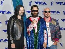 Jared Leto, Shannon Leto et Tomo Milicevic de trente secondes à Mars Images libres de droits