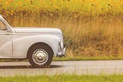 Jaren '50auto het drijven door een gebied met bloeiende zonnebloemen Stock Afbeelding