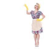 Jaren '50huisvrouw die 'op speciale aanbieding' wijzen, humoristisch concept, royalty-vrije stock foto's