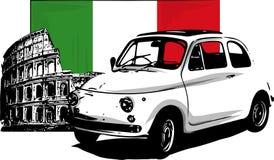 jaren '60 uitstekende Italiaanse die auto op witte achtergrond wordt geïsoleerd royalty-vrije illustratie