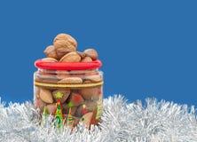 Jarful van de noten van Kerstmis in glanzend zilveren klatergoud Stock Fotografie