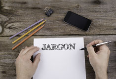 JARGON. Text on a sheet of paper. Stock Photos