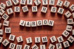 Jargon word concept on cubes royalty free stock photography
