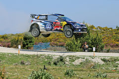 Jari Matti Latvala of Finland and Mikka Anttila of Finland. Compete in their Volkswagen Motorsport Volkswagen Polo R WRC during Day Two of the WRC Portugal on Stock Photos