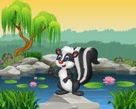 Jaritataca dos desenhos animados que apresenta na rocha Imagens de Stock