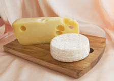 Jarlsberg Cheese with Camembert Cheese Royalty Free Stock Image