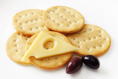 Jarlsberg Cheese and Crackers Stock Images
