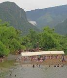 Jarmark w wiosce Vang Vieng prawie zdjęcia royalty free