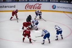 Jarno Koskiranta 4 on faceoff. PODOLSK, RUSSIA - NOVEMBER 11, 2016: Jarno Koskiranta 4 on faceoff on hockey game Vityaz vs SKA on Russia KHL championship on Stock Image