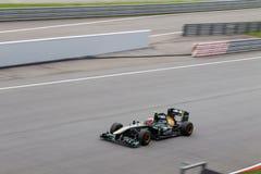 Jarno Trulli auf einer großen Geschwindigkeit gerade Lizenzfreie Stockfotos