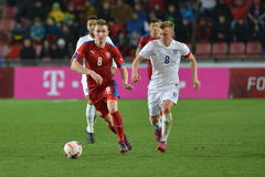 Jaromír Zmrhal, Jamed Ward-Prowse. PRAGUE 27/03/2015 _ Friendly match Czech Republic U21 - England U21 Stock Images