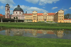 Jaromerice nad Rokytnou chateau. Reflecting in water, Czech Republic Stock Images