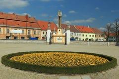 Jaromerice nad Rokytnou. The square in Jaromerice nad Rokytnou seen the courtyard of the chateau, Czech Republic Royalty Free Stock Photo