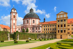 Jaromerice Palace in Southern Moravia, Czech Republic. Jaromerice Palace, cathedral and gardens in Southern Moravia, Czech Republic Royalty Free Stock Images