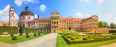 Jaromerice Palace in Southern Moravia, Czech Republic. Jaromerice Palace, cathedral and gardens in Southern Moravia, Czech Republic Royalty Free Stock Photos
