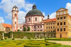 Jaromerice Palace in Southern Moravia, Czech Republic. Jaromerice Palace, cathedral and gardens in Southern Moravia, Czech Republic Royalty Free Stock Photography