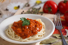 Jarosza i weganinu spaghetti na białym talerzu z kumberlandem Zdjęcie Royalty Free