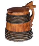 Jarra de cerveza de madera con la tapa Foto de archivo