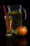 Jarra y un vidrio de sidra, manzana Fotografía de archivo libre de regalías