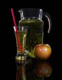 Jarra y un vidrio de zumo de manzana Imagenes de archivo