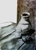 Jarra y vidrio Imagen de archivo libre de regalías