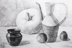 Jarras, manzanas y calabaza dibujadas en lápiz Foto de archivo libre de regalías