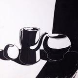Jarras y manzana pintadas con un cepillo Fotografía de archivo libre de regalías