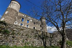 Ruins of the castle of Bon Repos. JARRIE, FRANCE, April 1st, 2018 : The castle of Bon Repos is a former strong house of XV century. Castle including the vestiges Stock Photo