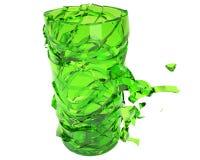 Jarro agrietado del vidrio verde alrededor a derrumbarse Fotografía de archivo libre de regalías