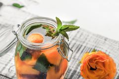 Jarro com tampa com água, desintoxicação com partes de pêssego e abricó, com close-up do gelo Uma bebida de refrescamento em um b imagens de stock