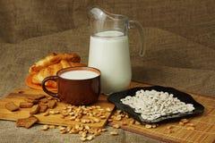 Jarro com uma caneca de sementes do leite e de girassol Imagens de Stock