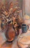Jarro de la arcilla con las flores secas stock de ilustración